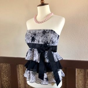 Bebe Strapless Tiered Silk Top with Bow